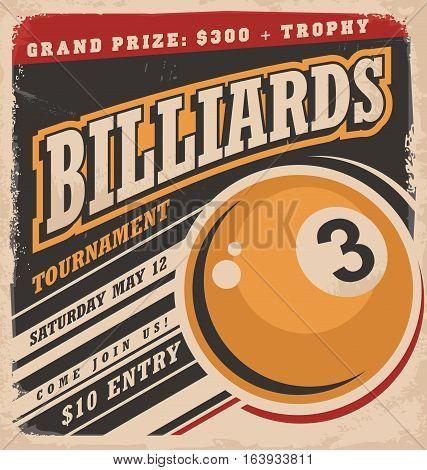 Billiards retro poster design layout. Vintage retro illustration.