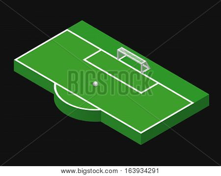3D isometric illustration of football goal, part of football field, penalty area with ball. Vector illustration isolated on black. Soccer pitch, sport theme, editable element for banner, infographics