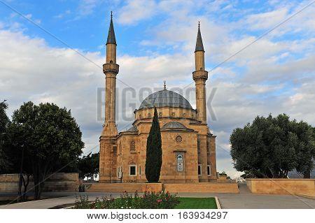 Martyrs' mosque in the memorial park of Baku