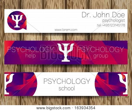 Vector Psychology Web banner design background or header Templates. Psi logo. Sumbol and icon, logotype. Profile Human. Creative style. Brand company concept. Violet color. Tree