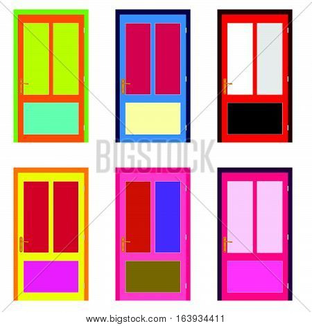 Door In Colorful Design Set Illustration On White