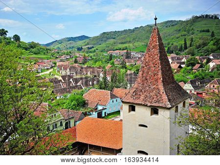 Tower of Beirtan church in Transylvania Romania