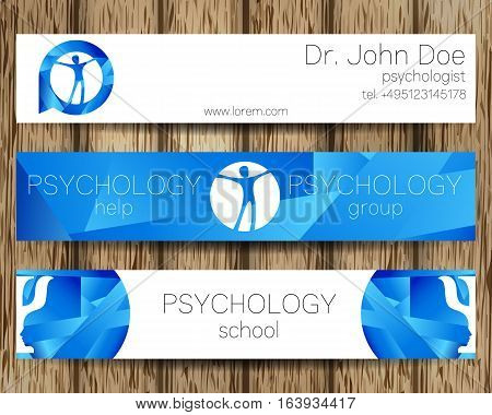 Vector Psychology Web banner design background or header Templates. Psi logo. Sumbol and icon, logotype. Profile Human. Creative style. Brand company concept. Blue color. Tree