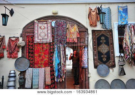 BAKU AZERBAIJAN - SEPTEMBER 25: Traditional souvenir shop in old town of Baku on September 25 2016. Baku is a capital and largest city of Azerbaijan.