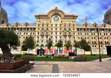 BAKU AZERBAIJAN - SEPTEMBER 26: Facade of the house in Baku downtown on September 26 2016. Baku is a capital and largest city of Azerbaijan.