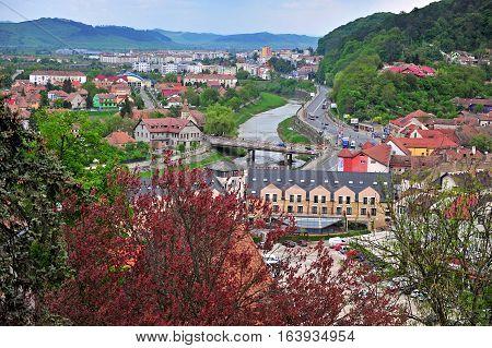 SIBIU ROMANIA - MAY 5: Panorama of Sighisoara old town Transylvania Romania on May 5 2016. Sibiu is the city located in Transylvania region of Romania.