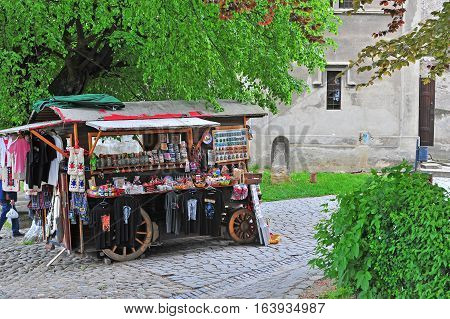 SIBIU ROMANIA - MAY 5: Souvenir shop in the street of Sighisoara town Romania on May 5 2016. Sibiu is the city located in Transylvania region of Romania.