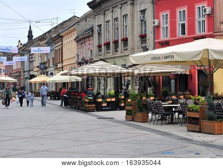 NOVI SAD SERBIA - MAY 13: View of the shopping street in Novi Sad city Serbia on May 13 2016. Novi Sad is the second largest city of Serbia.
