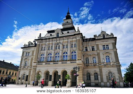 NOVI SAD SERBIA - MAY 13: View of city hall of Novi Sad city Serbia on May 13 2016. Novi Sad is the second largest city of Serbia.