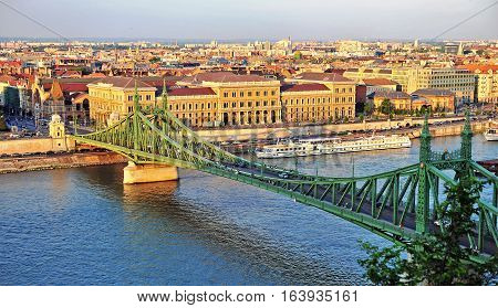 BUDAPEST HUNGARY - MAY 21: Top view of Liberty bridge and Budapest city on May 21 2016. Budapest is the capital and largest city of Hungary.