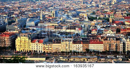 BUDAPEST HUNGARY - MAY 21: Top view of Budapest city on May 21 2016. Budapest is the capital and largest city of Hungary.