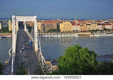 BUDAPEST HUNGARY - MAY 23: View of Budapest city and Elisabeth bridge on May 23 2016. Budapest is the capital and largest city of Hungary.