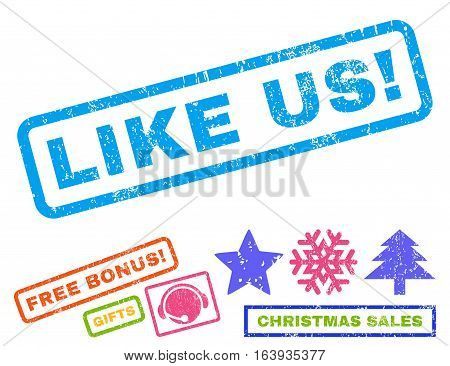 Like Us text rubber seal stamp watermark with bonus christmas symbols. Caption inside rectangular shape with grunge design and dust texture.