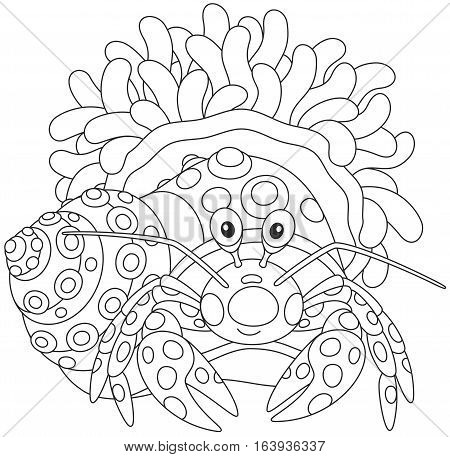 Black and white vector illustration of a small crab in its shall with an anemone flower