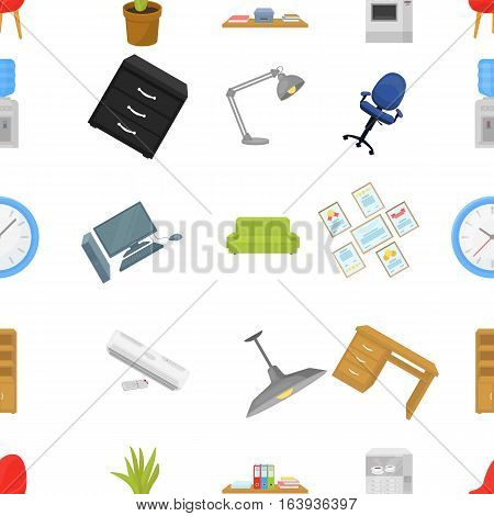 Office furniture and interior pattern icons in cartoon style. Big collection of office furniture and interior vector symbol stock
