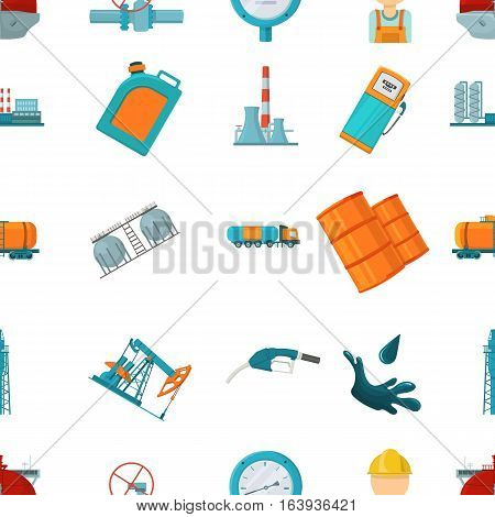 Oil industry pattern icons in cartoon style. Big collection of oil industry vector symbol stock