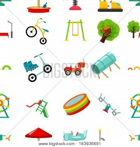 Play garden pattern icons in cartoon style. Big collection of play garden vector symbol.