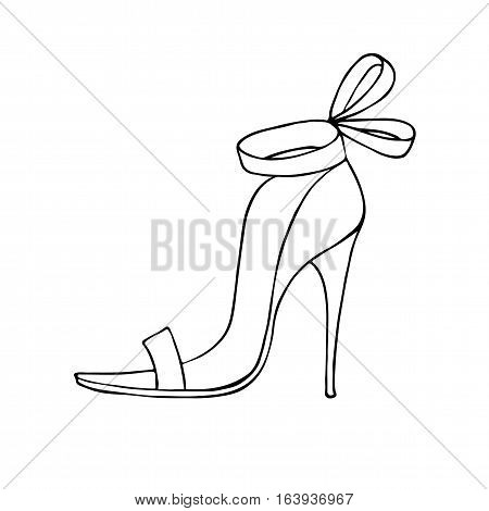 Female shoe. Vector. Outlined on white background