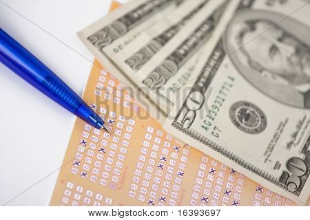 lottery ticket and money