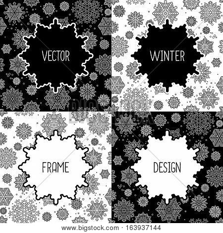 Black and white frames set with snowflakes. Vector illustration