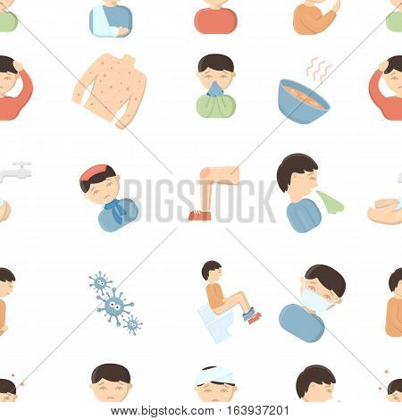 Sick pattern icons in cartoon style. Big collection sick vector symbol stock