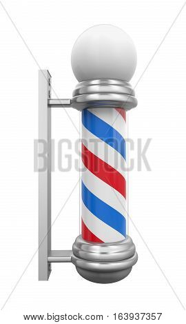 Classic Barber Shop Pole isolated on white background. 3D render