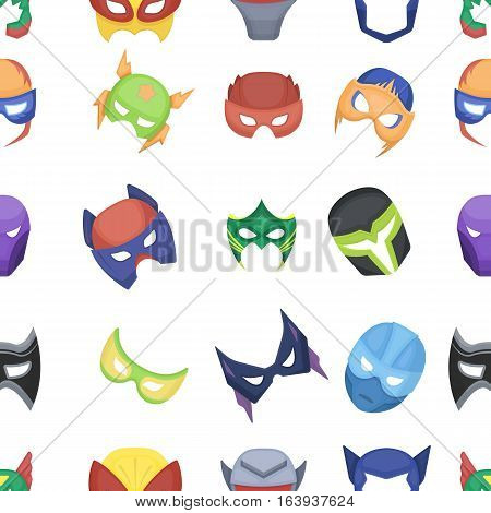 Superhero mask pattern icons in cartoon style. Big collection superhero mask vector symbol stock