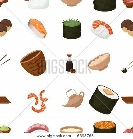 Sushi pattern icons in cartoon style. Big collection of sushi vector symbol.