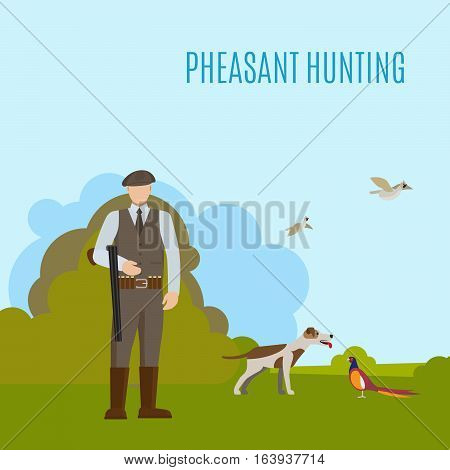 Hunting vector illustration with hunter his dog and prey. Pheasant hunting