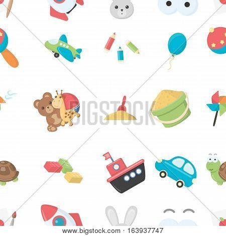 Toys pattern icons in cartoon style. Big collection of toys vector symbol stock