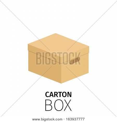 Carton rectangular closed box pack. Vector flat item isolated on white