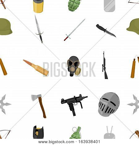 Weapon pattern icons in cartoon style. Big collection weapon vector symbol stock