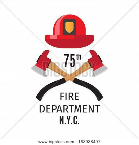 Firefighter emblem with vector cross fire axes and fireman helmet