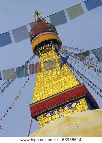Budda eyes on Swayambunath Stupa Kathmandu Nepal sacred place for Tibetan buddhist