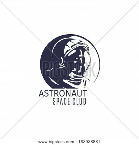 Astronaut space club logo design in retro style with astronaut silhouette. Vector illustration