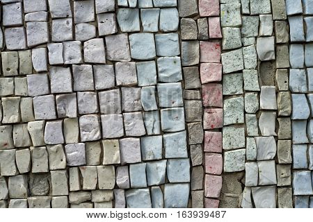 Gray light blue pink old smalt mosaic rustic surface background