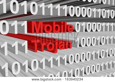 Mobile trojan is presented in the form of binary code 3d illustration