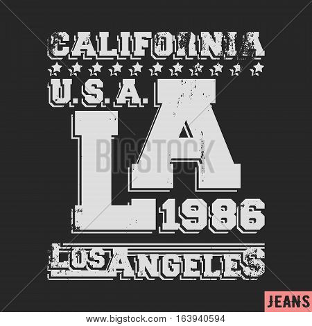 T-shirt print design. Los Angeles vintage stamp. Printing and badge applique label t-shirts jeans casual wear. Vector illustration.