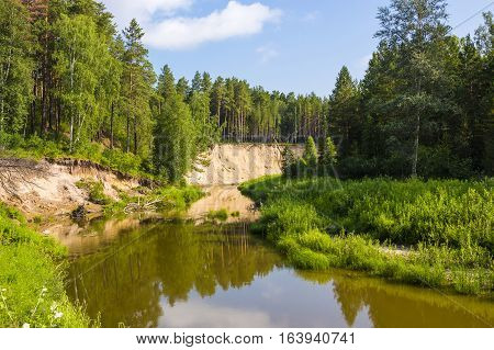 Karakan river in Siberia Novosibirsk oblast Russia. Summer view of the river with pines on the shore
