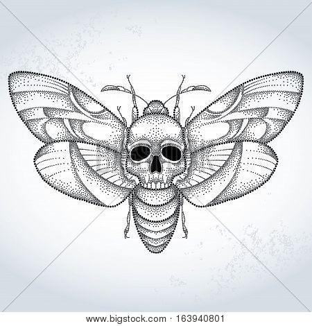 Vector drawing of dotted black Death's head hawk moth or Acherontia atropos on the gray textured background. Illustration of butterfly with skull in dotwork style for tattoo design.