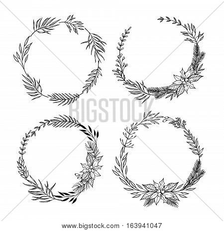 Hand Drawn Vector Set Of Christmas Wreaths .christmas Design Elements ( Laurel, Leaf, Holly, Fir And