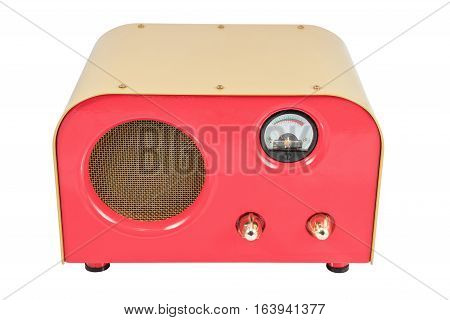 Red vintage retro speaker with sensor and control switches isolated on white background