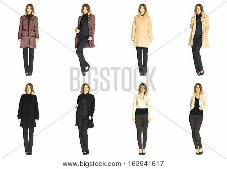 Collage happy woman in winter clothing isolated