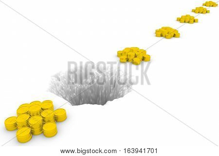 financial hole on white background 3D illustration