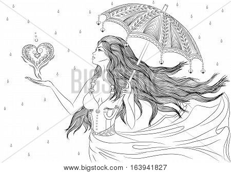 Line art. Vector illustration of a beautiful young girl with long hair in a flowing dress standing under an umbrella with a heart in the hend. Isolated on white background. Coloring book page for adults