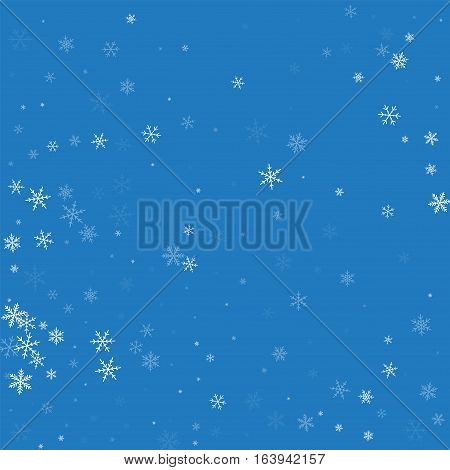 Sparse Snowfall. Abstract Pattern On Blue Background. Vector Illustration.