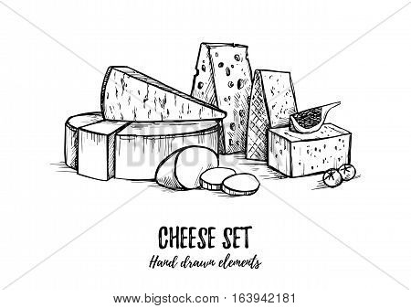 Hand Drawn Vector Illustration. Cheese Set (mozzarella, Blue Cheese, Gouda, Parmesan, Maasdam). Isol