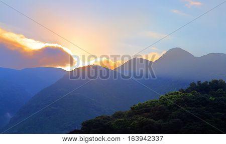 sunrise over montains in Unzen, Kyushu, Japan