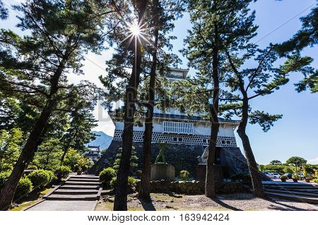 Trees and Shimabara castle in Nagasaki Prefecture, Kyushu