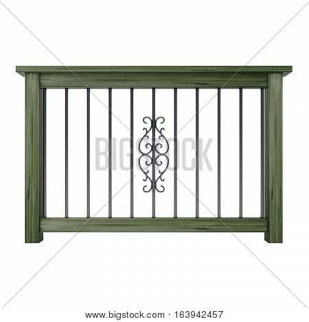Wooden railing with decor metal balusters 3d rendering